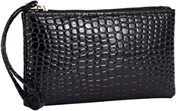 Crocodile Print Long Style Dinner Bag Women Evening Handbag Purse for Party and Wedding (Black)
