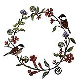 LEMORTH Metall Kranz Vogel Wand Hängen Dekor Kicherade-Blumen Kranz Wandkunst für Küchen Porch Vogel Girlande Dekoration Urlaub Festival Anhänger Wanddekor
