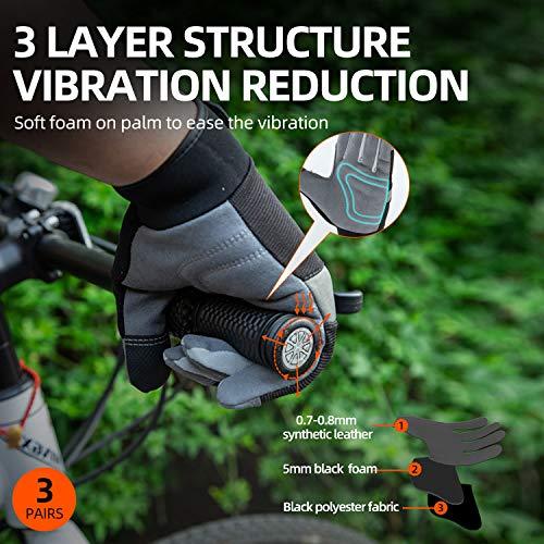 Vgo 3 Paires Gants de Travail en Cuir Synthétique pour Bricolage, Construction, Jardinage, Multifonction (8/M, Vert,Orange,Noir, SL7584)