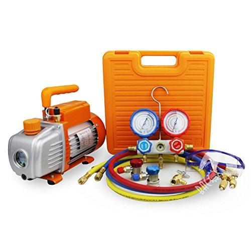 BACOENG Pompa Vuoto 85 Lt/min con Manometro Collettore, Kit carica e vuoto, per HVAC/Ricarica Automatica del Refrigerante CA, R410A R22 R134a R407C