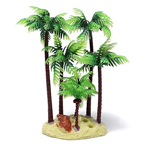 Plastic Palm Tree Plant Underwater Aquarium Ornament,5.4 Inch,Green Brown Pet Supplies SuperiorQuality and Creativesecurity