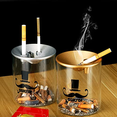 PPuujia Cenicero de mesa creativo para el hogar, sala de estar, oficina, gran tendencia, cenicero de cristal multifuncional con cenicero con tapa (color dorado champán)