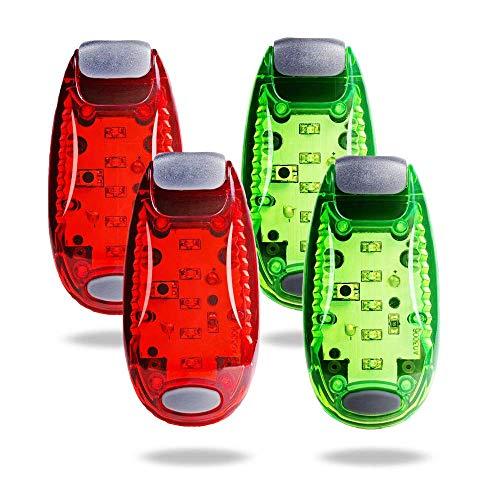 TBoonor LED Blinklicht Set Licht für Kinder Schulranzen Nachtläufer Bergsteiger Hunde Leuchtanhänger mit Batterien Clip Dauerlicht und Blinklicht 4er (2 Rot 2 Grün)