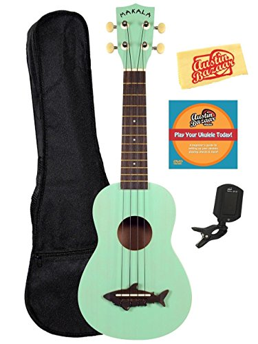 Kala MK-SS-GRN Makala Shark Soprano Ukulele - Surf Green Bundle with Gig Bag, Tuner, Austin Bazaar Instructional DVD, and Polishing Cloth