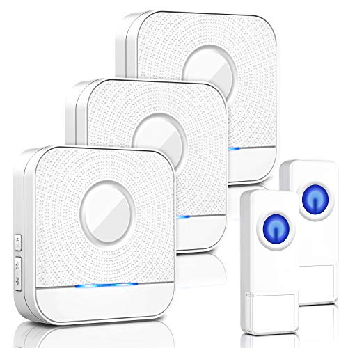 Wireless Doorbell IP55 Waterproof Chime Kit, 1000 Feet Operating, LED Indicator, 5 Level Volume, 58 Chimes Options, No Batteries Required for Receivers