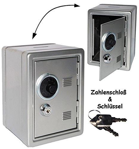 alles-meine.de GmbH Spardose Tresor Schrank - mit Schlüssel & Zahlenschloss / Zählwerk - aus Metall - schwarz / rot / blau / grau - stabile Sparbüchse für die Reisekasse - Schloß..