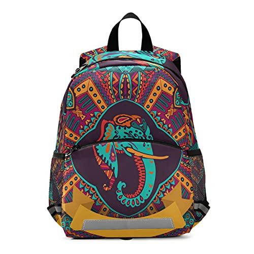 ISAOA - Mochila para niños con riendas para niños y niñas, colorida mochila de elefante hindú indio, mochila para niños, mochila de guardería, bolsa de viaje con correa para el pecho