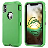 Annymall Phone Case for iPhone Xs Max Case with Screen Protector Heavy Duty Full Body Shockproof Dust-Proof Rugged Protective Cover for Apple iPhone Xs Max [6.5 inch] (Green/Black)