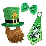Whaline St. Patrick's Day Leprechaun Hut Kobold Zylinder und Bart, Große Schlips und Glückliche...