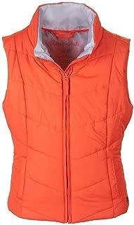 Womens Solid Chevron Zip Up Puffer Vest