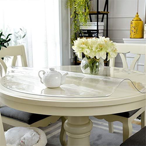Redondo Mueble Claro PVC Protector de Mesa, Transparente Vidrio Blando Impermeable Anti Calor Aceite-Prueba Manteles, Protector de Cubierta de Mesa por Mesa de Comedor, Multi-Tamaño Opcional