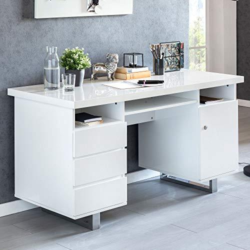 FineBuy Schreibtisch Salih 140 x 76 x 60 cm groß weiß Hochglanz Computertisch | Bürotisch 140 cm breit | PC-Tisch mit Metallbeinen | Home Office Konsole modern eckig