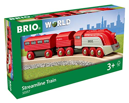 Buy Discount Brio World 33557 - Streamline Train - 3 Piece Wooden Toy Train Set for Kids Ages 3 and ...
