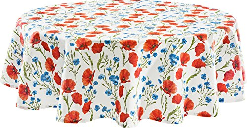 REDBEST Tischdecke 100% Baumwolle mohnblume Größe rund 160 cm Ø - Robustes, glattes Gewebe, Kornblume, Blumen (weitere Größen)
