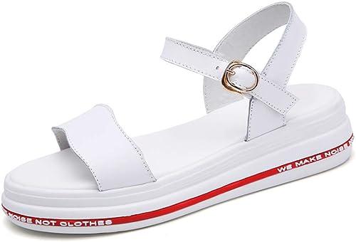 Sandales Version coréenne de la Plate-Forme Sauvage Chaussures en Cuir étudiant Sandales femmes-blanc-39