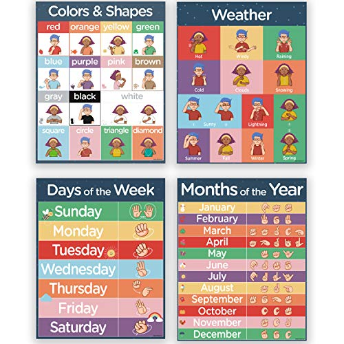 4 ASL Sign Language Posters - Sign Language for Kids Pack Includes: Months of the Year, Days of the Week, Color Chart and Weather