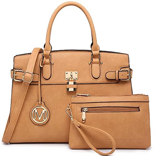 M Marco Women's Fashion Satchel Handbags with Matching Wristlet Wallet (Tan)