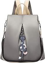 حقيبة ظهر نسائية أنيقة من قماش أكسفورد للسفر والمدرسة وحقيبة كتف مضادة للسرقة (رمادي)