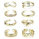 Finrezio 8 Piezas Anillos Abiertos del Dedo del Pie para Mujeres Niñas Anillo Ajustable Regalos Oro