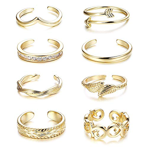 Finrezio 8Pcs Open Toe Rings for Women Girls Adjustable Ring Flower Knot Toe Ring Gifts Gold