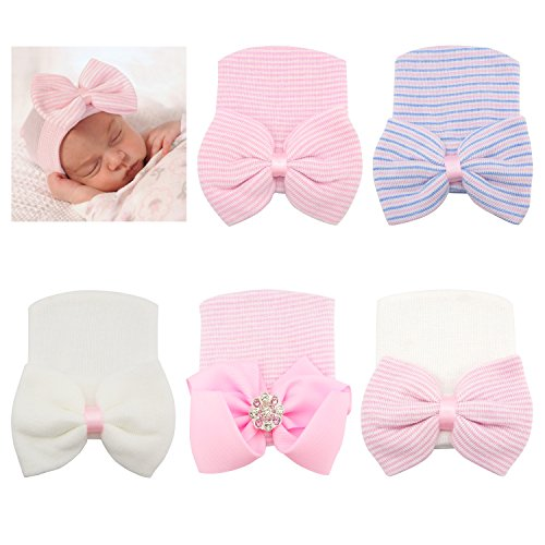 RareLove Newborn Hospital Hat with Stripe Bow Knot for Preemie Baby Girls Boys (5PCS)