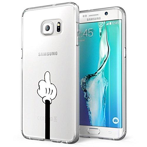 Funda para Galaxy S6 Edge Plus, transparente, de silicona ultra fina, con diseño de lobo, de dibujos animados, antigolpes, antiarañazos, suave, para Samsung Galaxy S6 Edge Plus Pulgar M