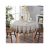 テーブルクロス 大きなラウンドテーブルテーブルクロス、防水防火油防止テーブルクロスコットンとリネンの家の装飾、3色、6サイズ (Color : A, Size : 90cm)