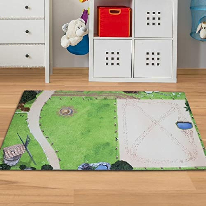 Pferde Spielmatte mit Reiterhof & Pferdekoppel 150 x 100 cm Größe 150 x 100 cm B07JCY4XJ8
