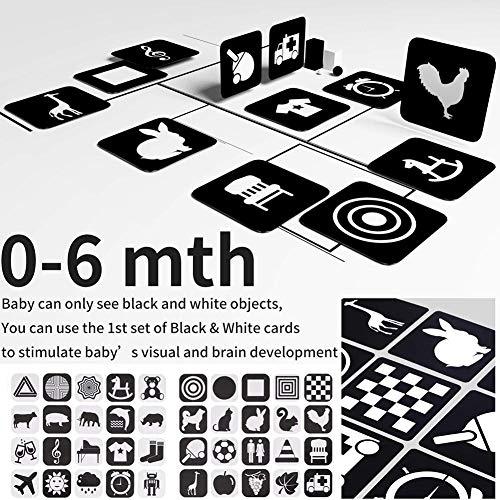 Ablerfly Tarjetas flash de alto contraste para bebés para estimular el cerebro del bebé Juguete educativo Regalo de ducha Tarjetas de imágenes en blanco y negro para niños pequeños (0-10 eco friendly