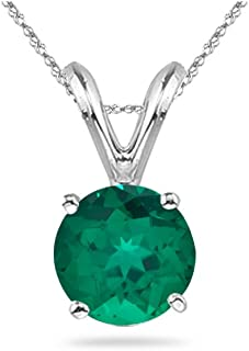 Great gift for your lady love. The pendant has the finest AAA quality round Russian Lab Created Emerald four-prong set in 14K White Gold. Lab created gemstones are developed in the lab creating the same pressure and temperature, these stones have the same chemical, physical, and optical properties as natural gemstones.