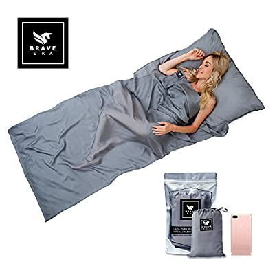 Brave Era Naturally Hypoallergenic 100% Mulberry Silk Travel Sheet for Adventurous Travelers. Sleep in Peace & Comfort Anywhere. (Sharkskin Gray)