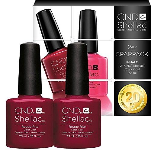CND Shellac Vernis à ongles UV/LED Power polonais, rouge Rite 7.3 ml – Lot de 2