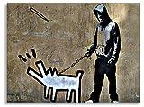 '' Banksy Foto sobre lienzo/X Keith Haring Dog (Impresión Artística, Cuadro, Montado en bastidor 80x 60cm de arte Bruder, 60 x 80 cm
