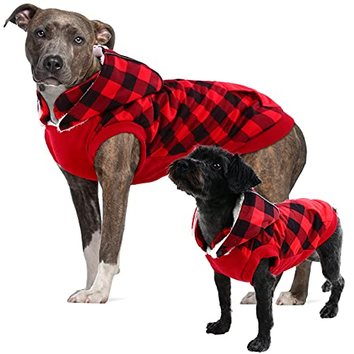 Dog Plaid Winter Jacket, Detachable Hooded Dog Fleece Vest with Pocket, Pet Warm Apparel for Small Medium Large Dogs, Dog Winter Clothes with for Toy Poodle, Mini Pinscher, Shih tzu, Chihuahua, Red