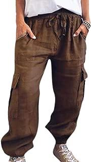 Huateng Frauen beiläufige Capri Taschen Hosen elastischer Bund Freizeithose