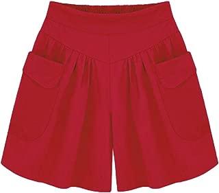 AvaCostume Women's Summer Comfortable Culottes Elastic Waist Wide Leg Pocket Casual Shorts
