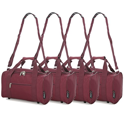 5 Cities Small 35x20x20 Ryanair Cabin Hand Luggage Holdall Flight Bag, Set of 4 (Wine)