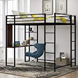 Metal Full Loft Bed with Desk and 2 Shelves for Kids Teens, High Loft Bed with Safety Rails and Ladder for Bedroom Dorm, No Box Spring Need, Space-Saving Design (Black)