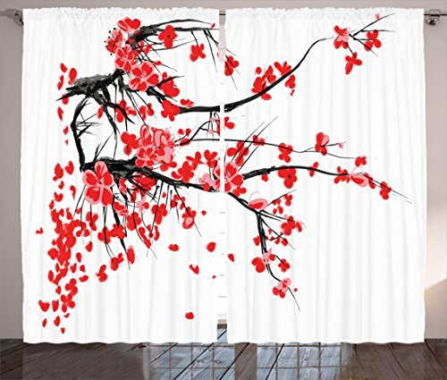 Ambesonne Floral Curtains, Japanese Cherry Blossom Sakura Blooms Branch Spring Inspirations Print, Living Room Bedroom Window Drapes 2 Panel Set, 108' X 63', Vermilion White