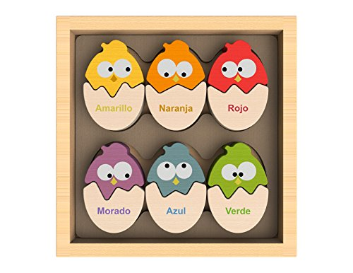 BeginAgain Color 'N Eggs Matching Puzzle - Bilingual Wooden Colors - 2 and Up