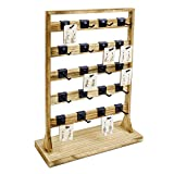 Ikee Design Wooden Jewelry Display Rack with 20 Hooks, Earring Card Display Holder Stand with Hooks, Jewelry Tower for Earring Cards, Necklaces, Keychains, Oak Color