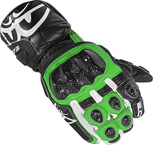 Berik Zakura Motorrad-Handschuhe aus Carbon, lange Manschette, Lederhandschuhe (schwarz/grün, XL)