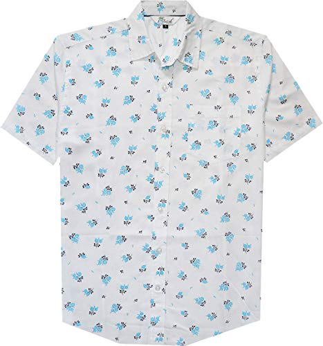 ALVISH Shirts for Men 70 Short Sleeve Casual Regular Fit Cotton Shirt Button Down Pocket White L