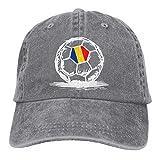 NCH UWDF Bandera rumana en el balón de fútbol Gorra de Mezclilla Deportiva Ajustable Snapback Unisex Sombrero de Vaquero de béisbol Liso