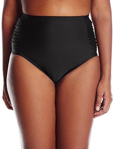 Jessica Simpson Women's Plus-Size Solid Side-Shirred High-Waist Bikini Bottom, Black, 0X