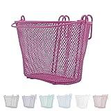 P4B Happy Kids - Cesta de bicicleta para niños en color rosa, cesta para rueda delantera, malla estrecha, malla de acero, con asa de transporte