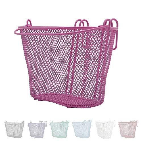 P4B | Happy Kids Fahrradkorb für Kinder in Pink | Vorderradkorb | Engmaschig | Stahlgeflecht | Mit Tragebügel