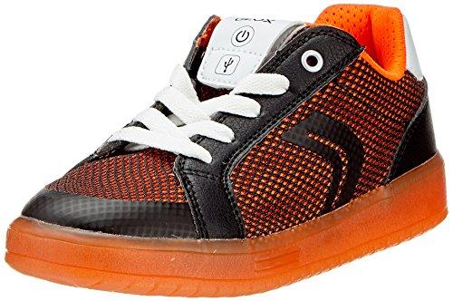 Geox Jungen J KOMMODOR Boy A Sneaker, Schwarz (Black/Orange), 34 EU