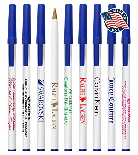 300 Value Pack, USA Made Personalized Writing Ink American Stick-Pens Colored Cap & Pocket Clip ballpoint pen, Custom Printed with Your Logo & Text Promote your brand, (White Barrels with Blue Trims)