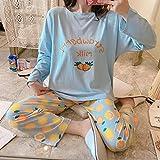 B/H Cuerpo Entero de Manga Larga para Mujer,Pijamas de Talla Grande Sueltos Lindos de Dibujos Animados de Invierno para Mujer, Blue_XL,Mujer Otoño Invierno Pijama de Dos Piezas